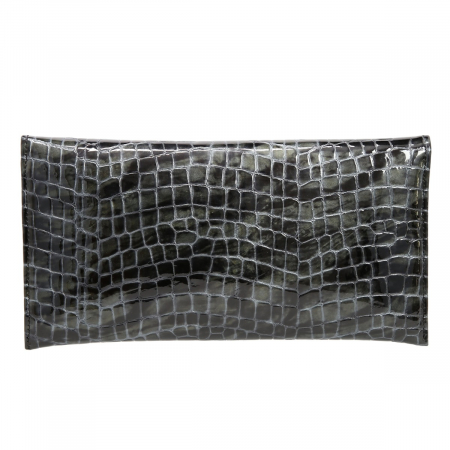 Plic de ocazie gri antracit din piele croco lac [2]