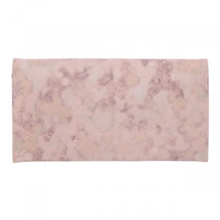 Plic de ocazie roz pudra din piele intoarsa, tip abstract [2]