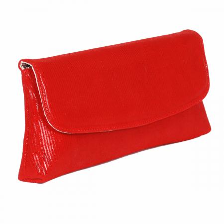 Plic din piele naturala rosie cu striatii fine, model 114 [0]