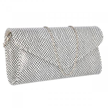 Plic elegant alb cu imprimeu negru din piele naturala, model 08 [0]