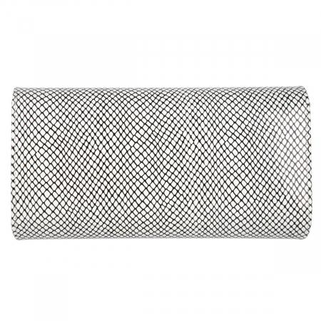 Plic elegant alb cu imprimeu negru din piele naturala, model 08 [2]