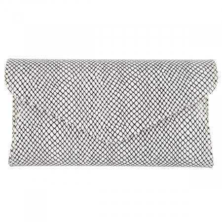 Plic elegant alb cu imprimeu negru din piele naturala, model 08 [1]