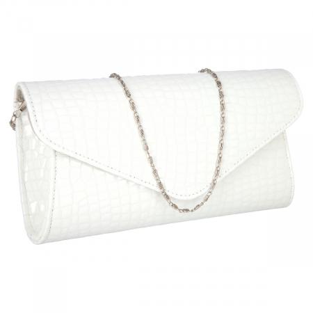 Plic elegant alb din piele lacuita croco, model 08 [0]