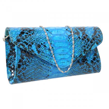 Plic elegant albastru piton din piele lacuita croco, model 08 [0]