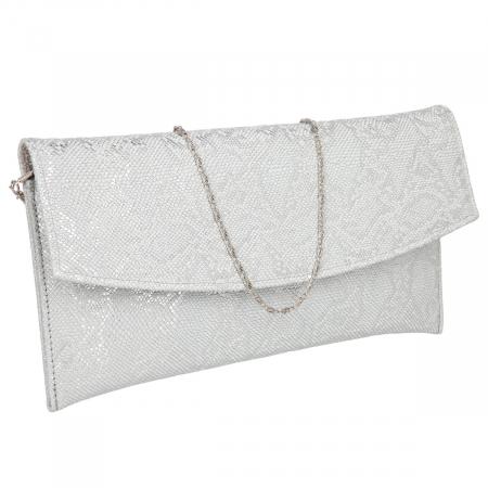 Plic elegant argintiu din piele naturala texturata [0]