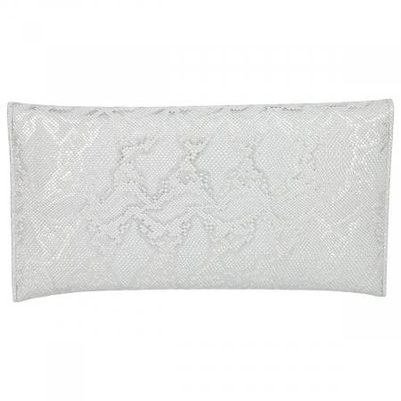 Plic elegant argintiu din piele naturala texturata [2]
