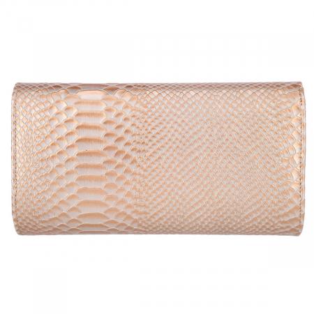 Plic elegant caramel deschis din piele cu imprimeu piton, model 08 [2]