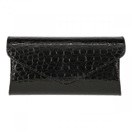 Plic elegant din piele croco lac negru model 08 [1]