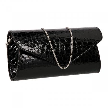 Plic elegant din piele croco lac negru model 08 [0]