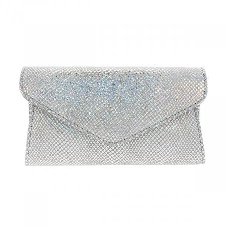 Plic elegant din piele naturala argintiu cameleon, model 08 [2]
