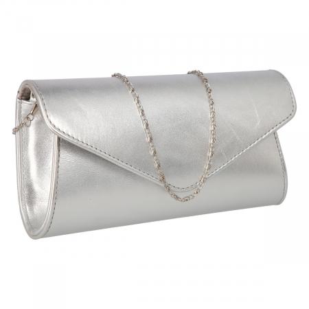 Plic elegant din piele naturala argintiu fin, model 08 [0]