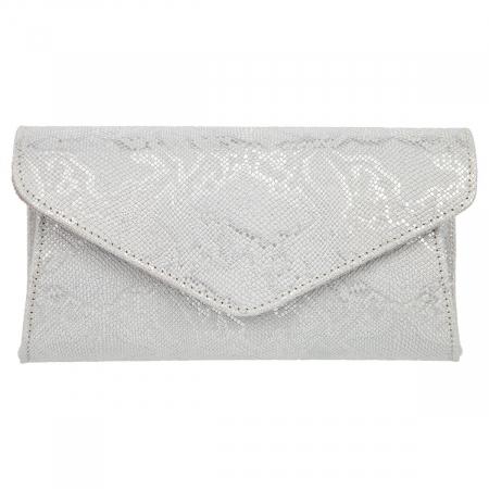 Plic elegant din piele naturala argintiu texturat, model 08 [1]