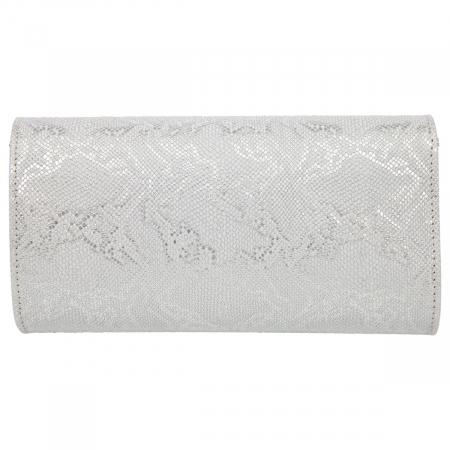 Plic elegant din piele naturala argintiu texturat, model 08 [2]