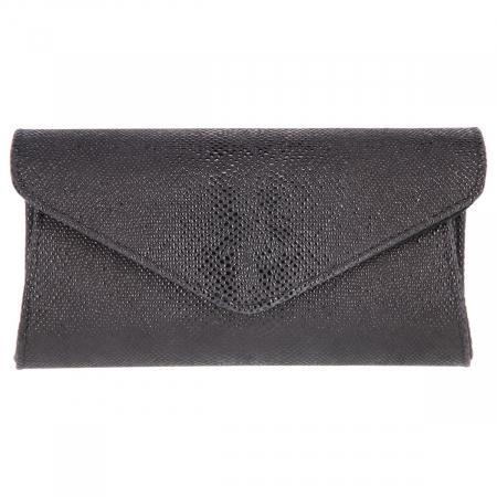 Plic elegant negru din piele naturala cu aspect de picuri de ceara, model 08 [1]