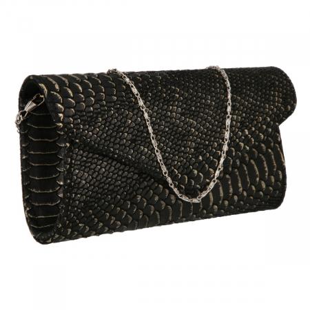Plic elegant negru din piele naturala cu detalii aurii, model 08 [0]