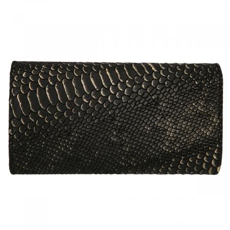 Plic elegant negru din piele naturala cu detalii aurii, model 08 [2]