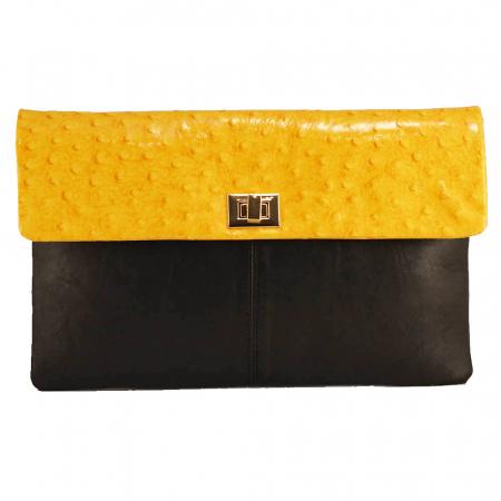 Plic elegant negru/galben din piele naturala [0]