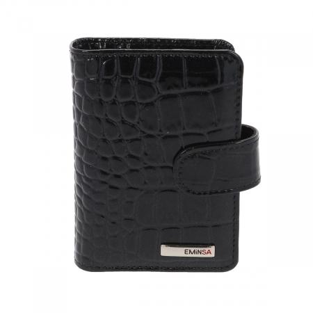 Port carduri din piele croco lac negru, model 1518 [0]