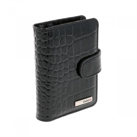 Port carduri din piele croco lac negru, model 1518 [2]