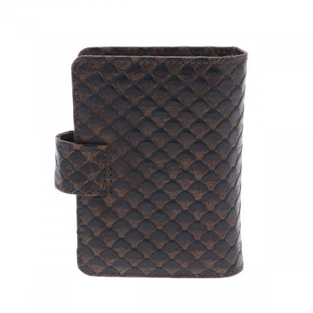 Port carduri din piele croco maro, model 1518 [1]