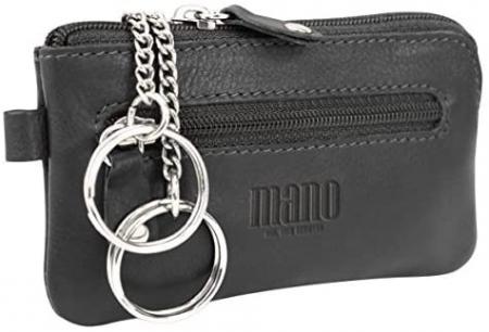 Port chei din piele naturala moale Mano, model M19000, Negru [0]