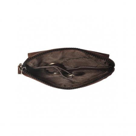 Port chei din piele naturala, The Chesterfield Brand, cu protectie anti scanare RFID, Oliver, Maro inchis [1]