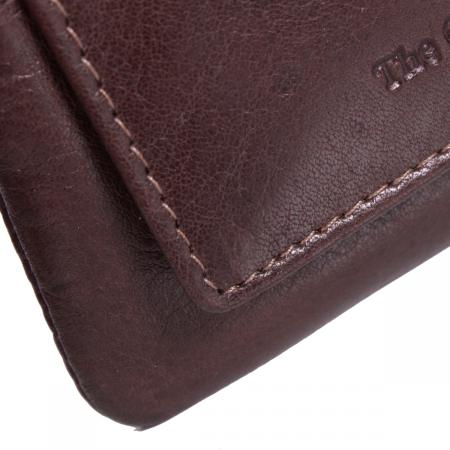 Port chei The Chesterfield Brand, cu protectie anti scanare RFID, din piele moale maro, model cu fermoar, David2