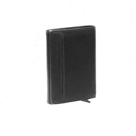 Portofel unisex cu suport pentru carduri, din piele naturala, The Chesterfield Brand, Lancaster, cu protectie anti scanare RFID, Negru [3]