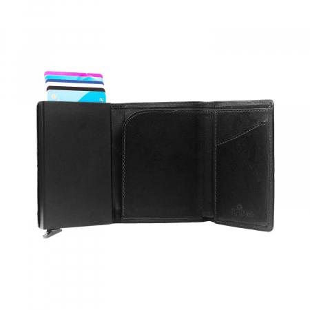 Portofel unisex cu suport pentru carduri, din piele naturala, The Chesterfield Brand, Lancaster, cu protectie anti scanare RFID, Negru [2]