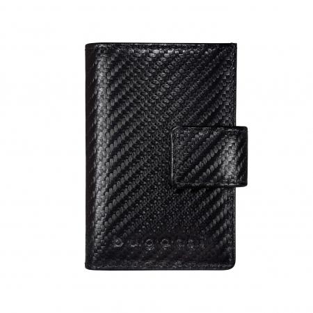 Portcarduri securizat, din piele naturala, cu protectie RFID, Bugatti, Secure Smart Deluxe, Negru carbon [0]