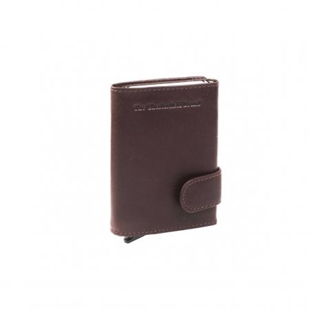Portofel unisex cu suport pentru carduri, din piele naturala, The Chesterfield Brand, Leicester, cu protectie anti scanare RFID, Maro inchis [0]