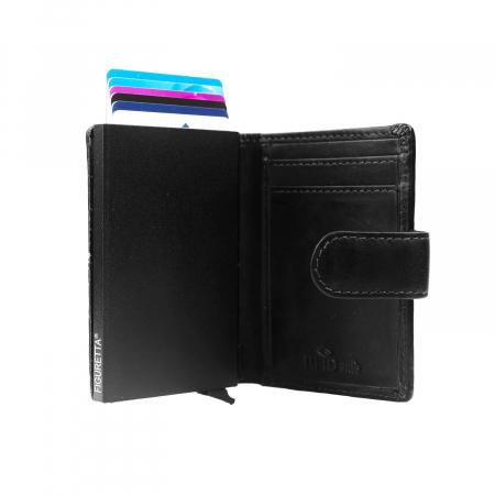 Portofel unisex cu suport pentru carduri, din piele naturala, The Chesterfield Brand, Loughton, cu protectie anti scanare RFID, Negru [4]