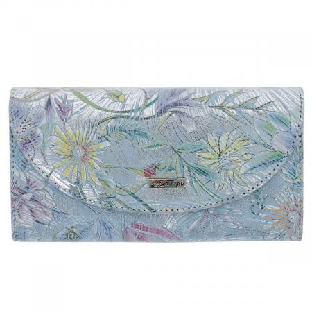 Portofel bleu ciel cu argintiu din piele naturala cu imprimeu floral, model 733 [1]