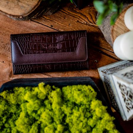 Portofel de dama din piele naturala, Tony Bellucci, model 867, Croco maro [1]