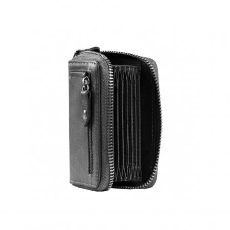 Port carduri din piele naturala, The Chesterfield Brand, Robin, cu protectie anti scanare RFID, Negru [3]