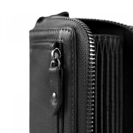 Port carduri din piele naturala, The Chesterfield Brand, Robin, cu protectie anti scanare RFID, Negru [2]
