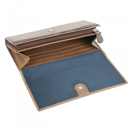 Portofel dama maro coniac, piele naturala cu perforatii, Bugatti model Perfo 602 [1]