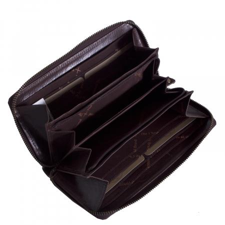 Portofel dama, The Chesterfield Brand, cu protectie anti scanare RFID, din piele naturala maro inchis, Bridget [1]