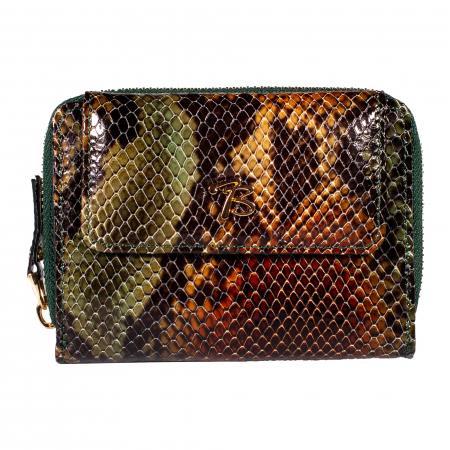 Portofel de dama din piele naturala, Tony Bellucci, T870, Verde piton [1]
