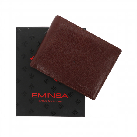 Portofel din piele fina maro coniac Eminsa pentru barbati, model 1057 [0]