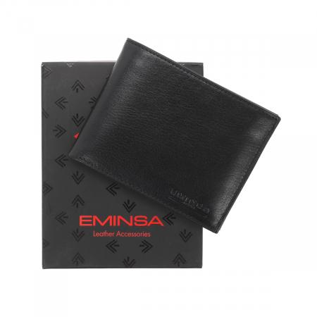 Portofel din piele fina neagra Eminsa pentru barbati, model 1020 [0]