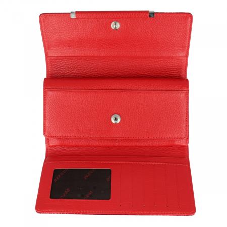 Portofel din piele lacuita rosie cu capac dublu, model 724 [3]