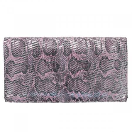 Portofel din piele naturala roz cu argintiu aspect piton, model 724, cu capac dublu2