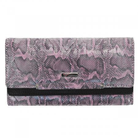 Portofel din piele naturala roz cu argintiu aspect piton, model 724, cu capac dublu1