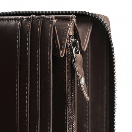 Portofel din piele naturala The Chesterfield Brand, cu protectie anti scanare RFID, Halle, Maro inchis [2]