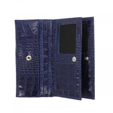 Portofel din piele naturala tip croco, bleumarin, model Eminsa 2054, cu capac dublu [3]