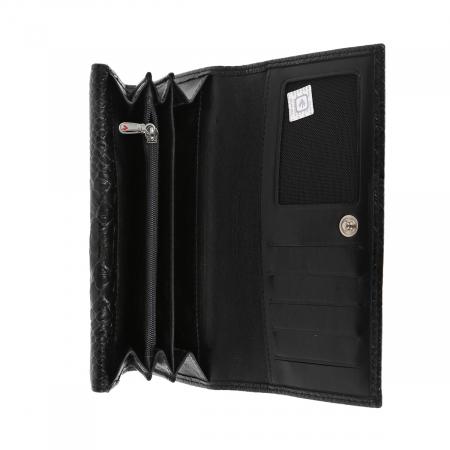 Portofel din piele naturala tip croco, negru, model Eminsa 2054, cu capac dublu5