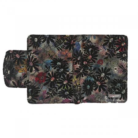 Portofel negru cu imprimeu floral, din piele naturala model 086 [3]