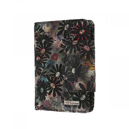 Portofel negru cu imprimeu floral, din piele naturala model 086 [1]