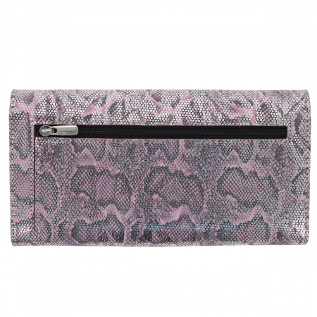 Portofel roz cu argintiu din piele naturala imprimeu tip piton, model 733 [3]